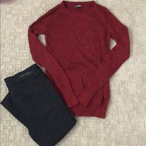 Black and red express sweater